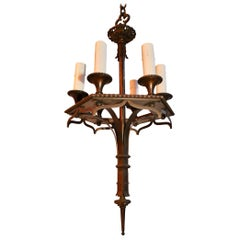 Beautiful and Sexy Small 1920s Bronze Chandelier