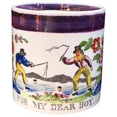 """Creamware Child's Mug """"FOR MY DEAR BOY"""" Tops, circa 1810"""