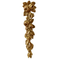 Architectural Gilded Wood Roses Garland, circa 1930
