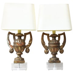 Pair of Gilded Wood Urns Shaped Lamps, circa 1890