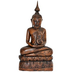 Wooden Burmese Buddha, Hand Carved, Large