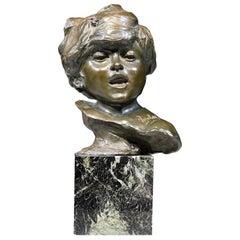 J.A. Injalbert, Bronze Bust of a Child, Paris, circa 1900