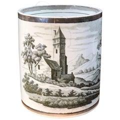Large Pearlware Porters Mug, Bat-Print Landscape, Platinum Rim, circa 1800