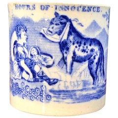 "Staffordshire Pottery Child's Mug ""Hours of Innocence,"" circa 1850"