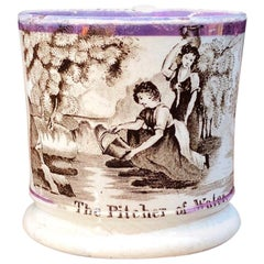 Staffordshire Pottery Child's Mug, Pitcher of Water, circa 1830