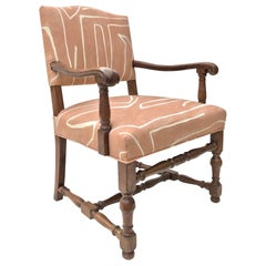 French Renaissance Revival Lounge Chair in Graffito Linen by Kelly Wearstler