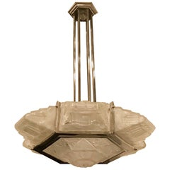 French Art Deco Pendant Chandelier by Hanots