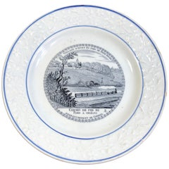 French Choisy Plate with Railway Scene- Train on Paris-Orleans Line, circa 1850