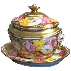 Coalport Sucrier and Matching Teapot Stand, Baxter Decorated, circa 1815