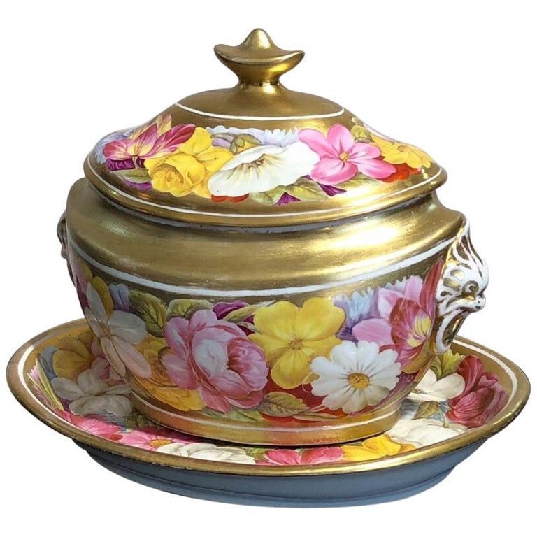 Coalport Sucrier and Matching Teapot Stand, Baxter Decorated, circa 1815 For Sale