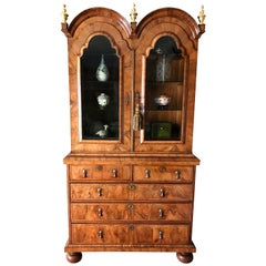 Queen Anne period Walnut Double Dome Bookcase Cabinet