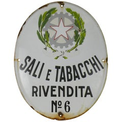 1950s Oval Italian Vintage Advertising Enamel Tobacco Sign 'Sali e Tabacchi'