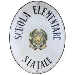 1960s Oval Italian Vintage Screen Printed Scuola Elementare Primary School Sign