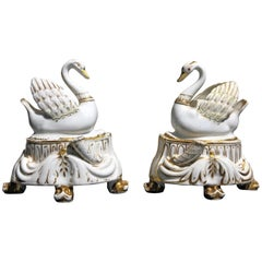 Pair of Swan Inkwells, English Porcelain, circa 1830