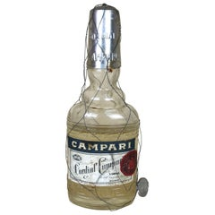 1950s Rare Vintage Italian Cordial Campari Glass Flask with Aluminium Cup