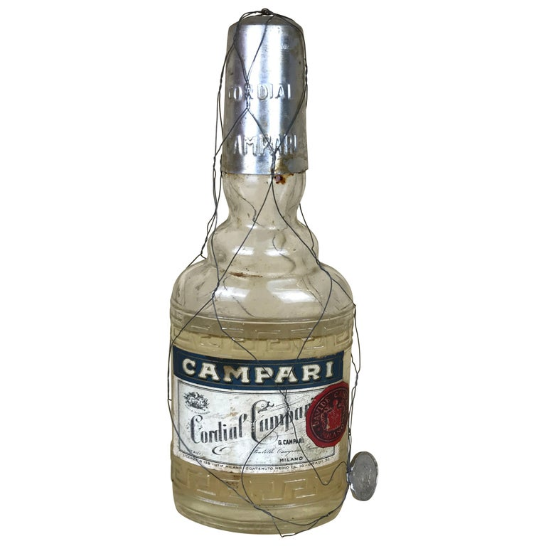 1950s Rare Vintage Italian Cordial Campari Glass Flask with Aluminium Cup For Sale