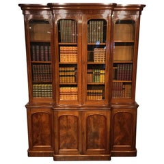 Feine Qualität Mahagoni viktorianische Periode viertürige Breakfront Bücherschrank
