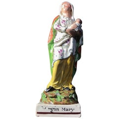 Early Staffordshire Figure of 'Virgin Mary' with Child, circa 1810