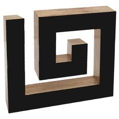 Josecho López Llorens Geometric Black Lacquered Pine Wood Spiral 11008 Sculpture