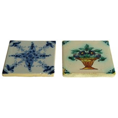 Two 19th Century Dutch Delft Ceramic Wall Tiles Hand Painted Floral Patterns