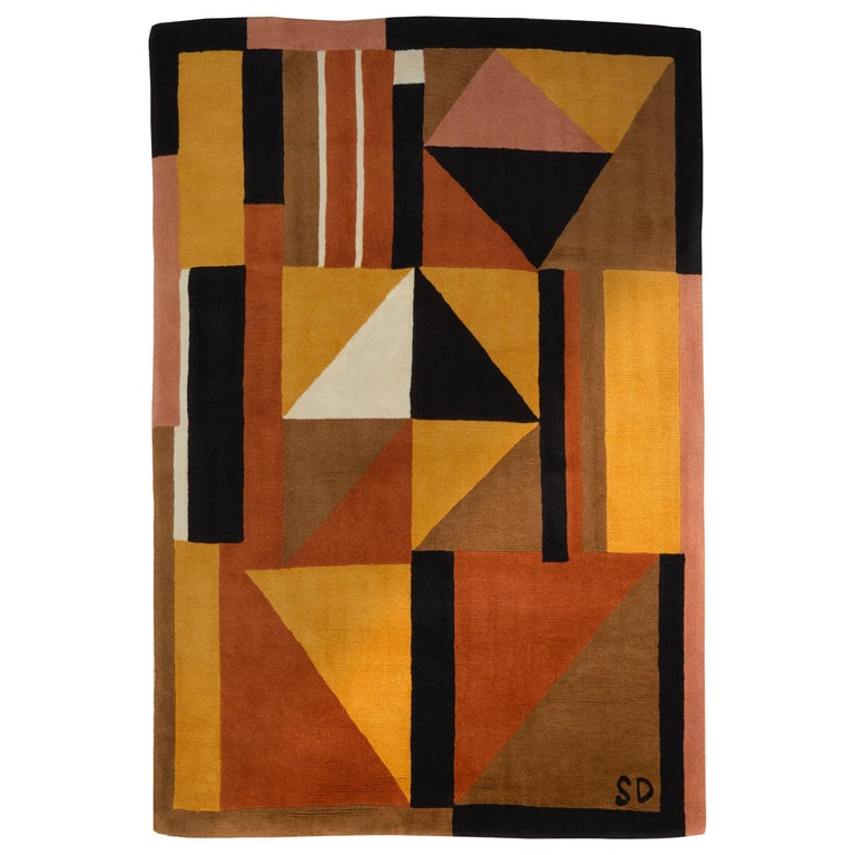 Sonia Delaunay Harlequin rug, designed 1924, reissued 1983, offered by Galerie Marcilhac