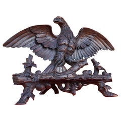 Hand Carved 19th Century Swiss Black Forest Nutwood Eagle Sculpture / Book Stand