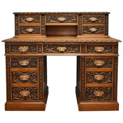 19th Century English Victorian Solid Carved Oak Pedestal Desk