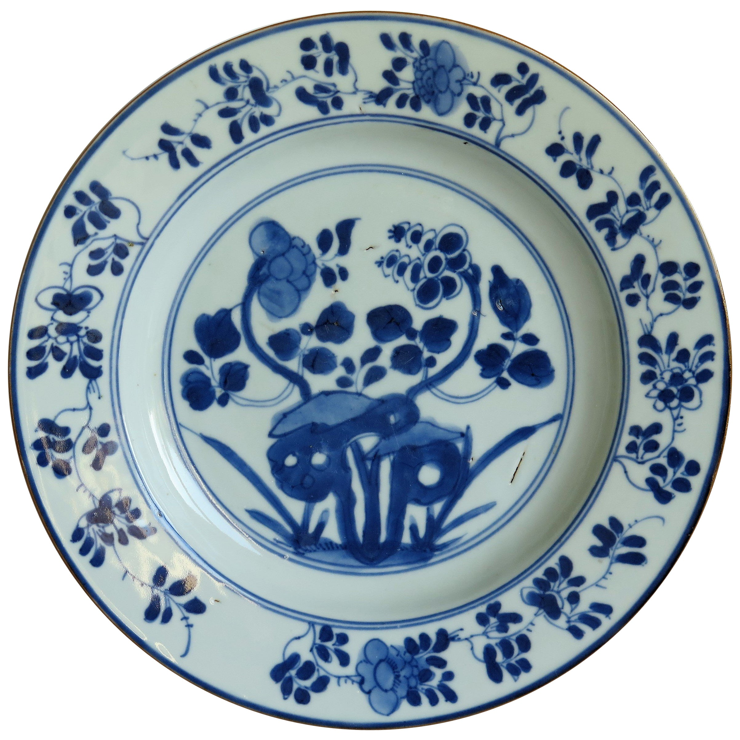 Early 18th Century Chinese Porcelain Plate Blue and White, Qing circa 1730