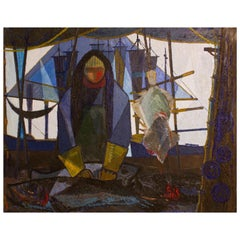 """the Fisherman"" Danish Midcentury Oil on Canvas"