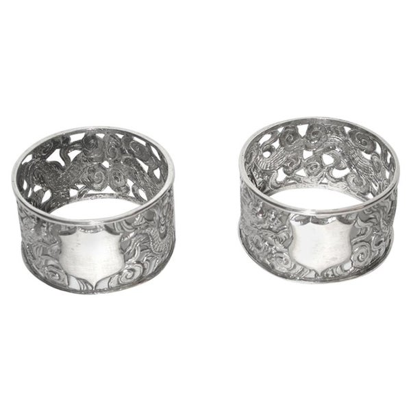 Pair of Antique Chinese Silver Dragon Napkin Rings, circa 1900