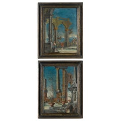 "18th Century Pair of Venetian Commedia dell'Arte"" Paintings"