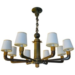 Rare and Stately French Bronze 8-Arm Bank Chandelier