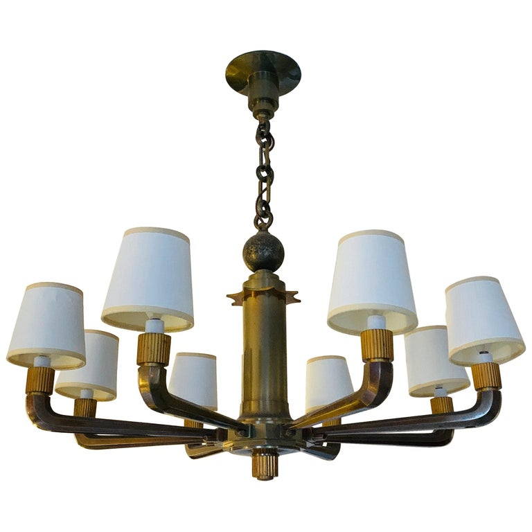 Rare and Stately French Bronze 8-Arm Bank Chandelier For Sale