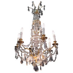 Marie Antoinette Chandelier, 6 Arms of Lights and 3 Indirect Lights, Gilt Bronze