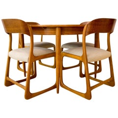 French Chairs and Round Table by Baumann, 1960s