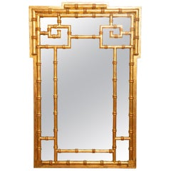 Chinese Chippendale Style Faux Bamboo Gilded Mirror