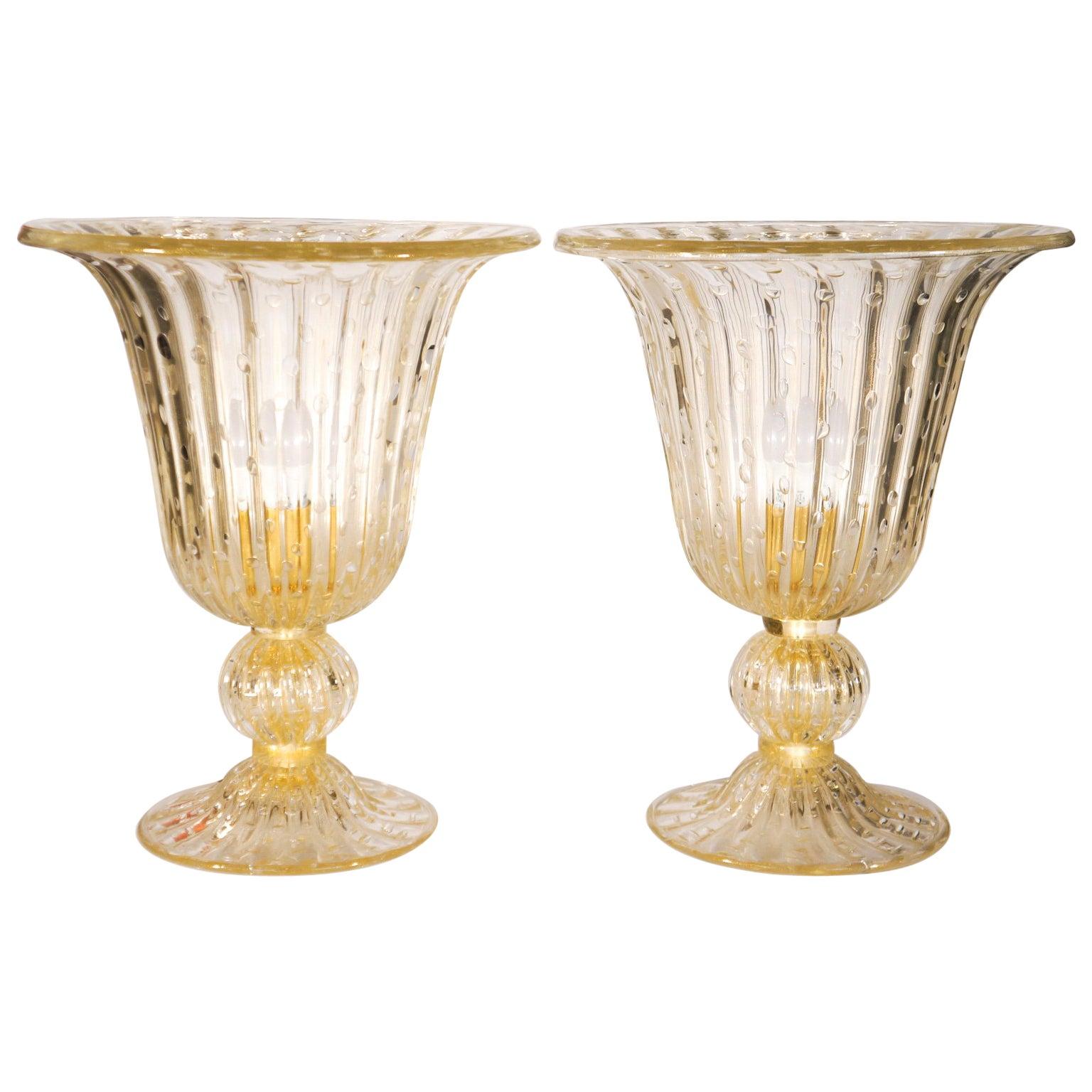 Alberto Donà Crystal and Gold Italian Venetian Pair of Table Lamps Murano, 1990s