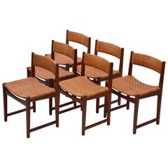 Model 350 Dining Chairs by Hvidt & Mølgaard Nielsen in Teak and Woven Cane