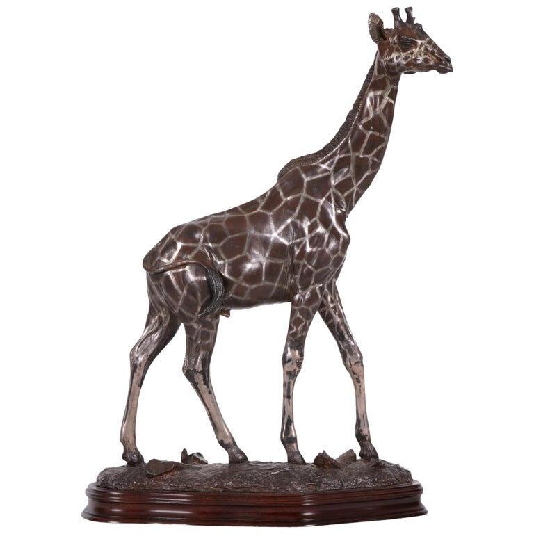 Limited Edition Sterling Silver Giraffe Sculpture by Tim Nicklin For Sale
