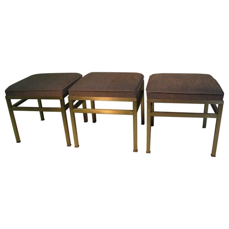 Mid-Century Modern Hollywood Regency Brass Ottoman Footstool For Sale