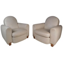 Elegant Pair of Leather Art Deco French Club Chairs by Jules Leleu