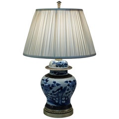 Early 20th Century Chinese Blue and White Porcelain Table Lamp