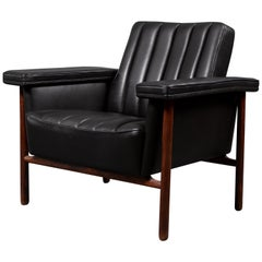 Midcentury Scandinavian Dysthe 1962 Black Leather Rosewood Tank Armchair Norway