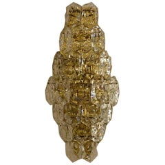 Huge Brass Sconce with Crystal Glasses by Kinkeldey Germany, circa 1970