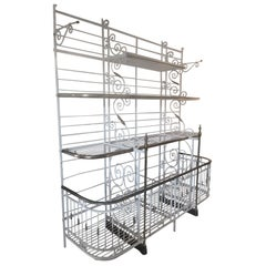 20th Century, French Wrought Iron and Gilted Brass Baker's Rack, 1920s