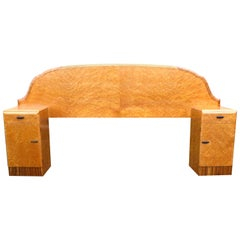 1930s Art Deco Bird's-Eye Maple Odeon Double Bed