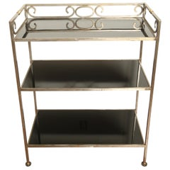 Three-Tiered Neoclassical Steel and Brass Étagère