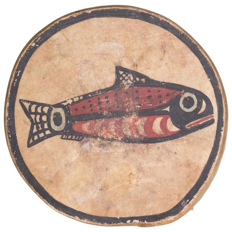 Nootka salmon hand drum, 1910, offered Cisco's Gallery