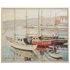 Original Oil Painting of Boats in Harbor