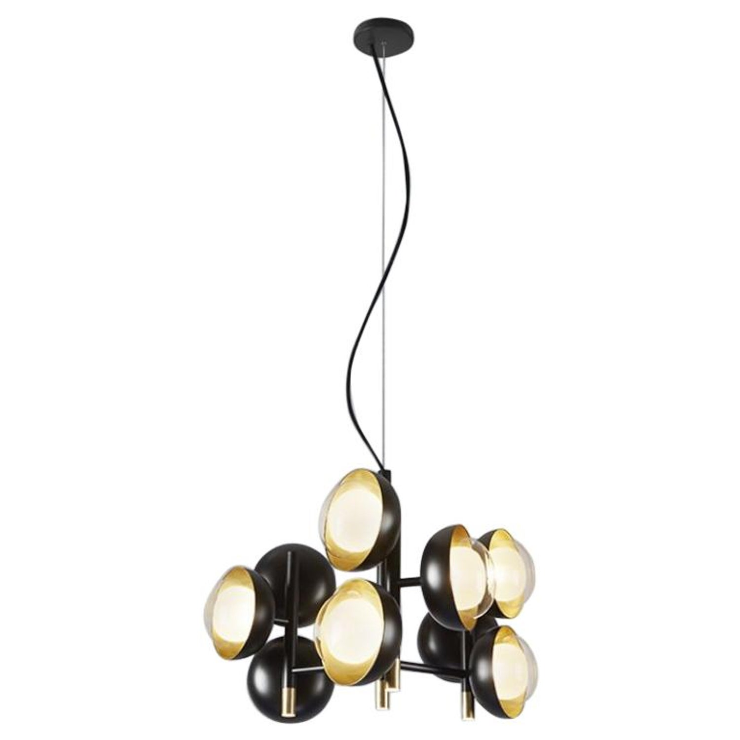 Muse neo vintage style metal chandelier with double sided glass diffuser for sale at 1stdibs